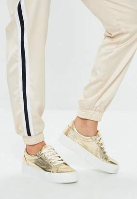 Missguided Gold Cracked Metallic Flatform Sneakers