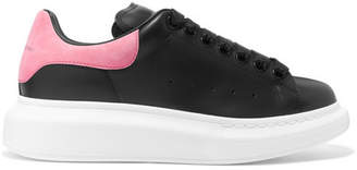 Alexander McQueen Suede-trimmed Leather Exaggerated-sole Sneakers - Black