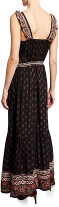 Raga Button-Down Ruffle Printed Maxi Dress