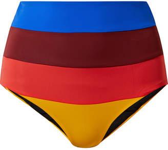Mara Hoffman Lydia Striped Bikini Briefs - Claret