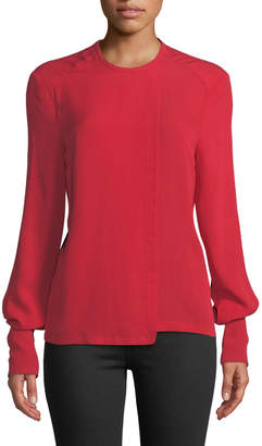 Yigal Azrouel Flap-Front Crepe Georgette Top