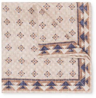 Brunello Cucinelli Reversible Printed Linen and Cotton-Blend Pocket Square - Beige