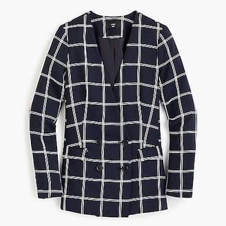 J.Crew Petite French girl blazer in windowpane everyday crepe