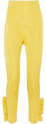 Carmen March Ruffle-Trimmed Taffeta Skinny Pants