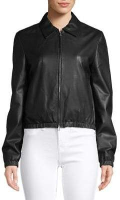 Theory Spread Collar Leather Jacket