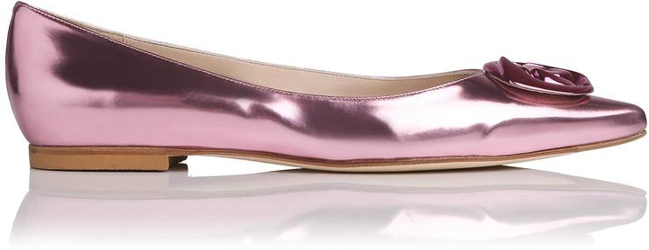 Patsy Metallic Leather Point Toe Flat