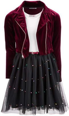 Beautees Big Girls Plus 2-Pc. Moto Jacket & Faux Pearl-Trim Dress Set