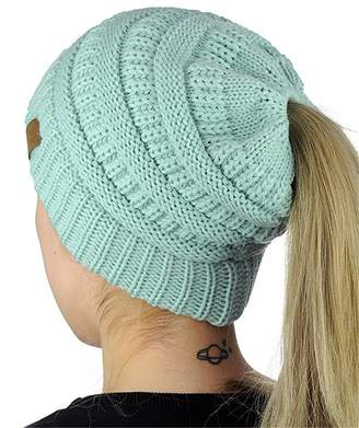 648d97b2d41 BALANSOHO Funky Beanie Tail Soft Stretch Cable Knit Messy High Bun Ponytail Beanie  Hats Winter Warm