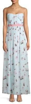 BCBGMAXAZRIA Woven Strapless Floral Maxi Dress