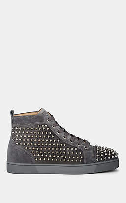 Christian Louboutin Men's Louis Flat Spiked Suede Sneakers - Gray