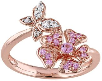 Laura Ashley Sterling Silver Pink & White Sapphire Butterfly & Flower Ring $425 thestylecure.com