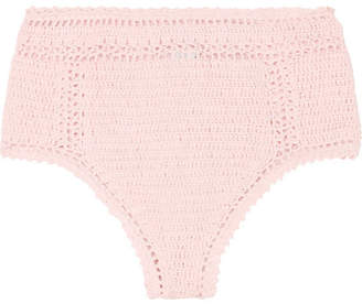 She Made Me Essential Crocheted Cotton Bikini Briefs - Pastel pink