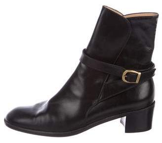 Salvatore Ferragamo Leather Round-Toe Ankle Boots