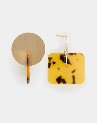 Asos Design DESIGN earrings mixed metal and tortoiseshell square