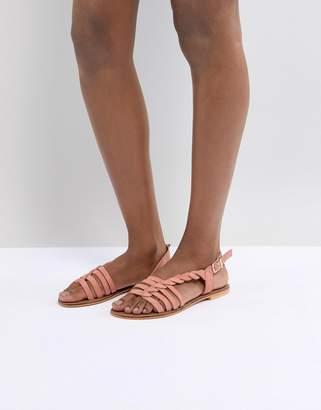 Asos DESIGN Flattered Leather Plaited T-Bar Flat Sandals