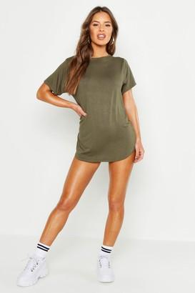 boohoo Petite Curved Hem T-shirt Dress