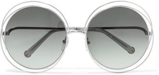 Chloé - Carlina Round-frame Silver-tone Sunglasses - Gray $375 thestylecure.com