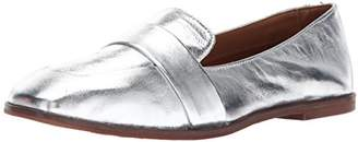 Kenneth Cole Reaction Women's Glide Slide Menswear Inspired Loafer with Square Toe Metallic Leather Upper Slip