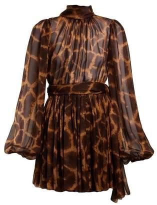Dolce & Gabbana Giraffe Print Tie Neck Dress - Womens - Animal