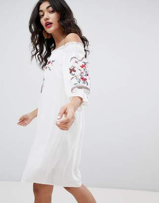 Rd & Koko Long Sleeve Bandeau Shift Dress With Embroidered Detail