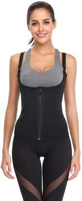 e6ca959086 KHC Women s Latex Zipper Waist Corset Girdle Adjustable Shoulder Strap  Black 4XL