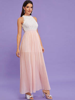 Shein Guipure Lace Panel Pleated Hem Formal Dress