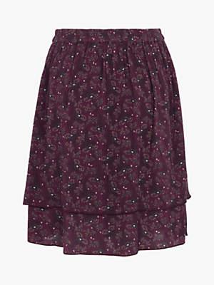 Fat Face Violet Floral Layered Skirt, Dark Plum