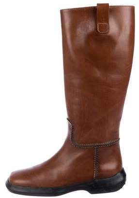 Tod's Leather Round-Toe Knee-High Boots