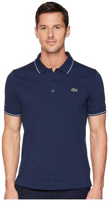 Lacoste Short Sleeve Pique Ultra Dry Fine Stripe w/ Jacquard Collar Zip Front Placket Men's Short Sleeve Pullover