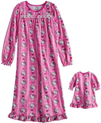 Hello Kitty Girls 4-10 Nightgown & Matching Doll Gown