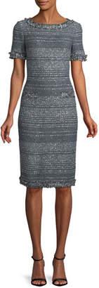 St. John Heathered Glimmer Knit Cocktail Sheath Dress