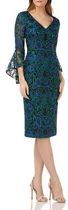 Carmen Marc Valvo Bell-Sleeve Lace Dress