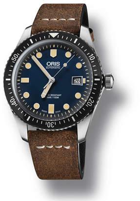 Oris Men's 42mm Diver Watch w/ Leather Strap, Blue/Brown