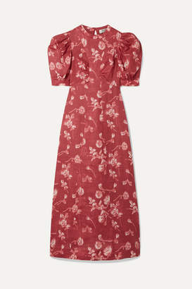 Sea Monet Floral-print Ramie Midi Dress - Burgundy