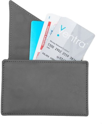 Holly & Tanager Insider Leather Card Holder Wallet In Grey