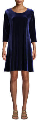 Caroline Rose Round-Neck 3/4-Sleeve A-Line Stretch-Velvet Dress, Petite