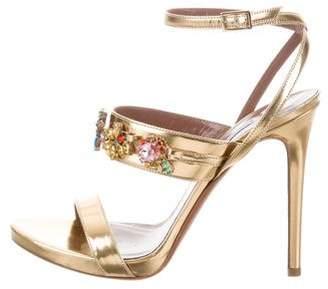 Tabitha Simmons Embellished Metallic Sandals