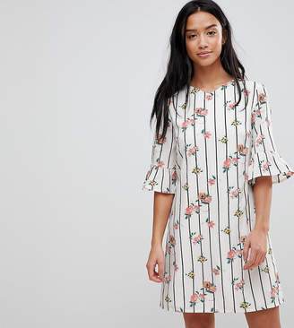 Yumi Petite Frill Sleeve Shift Dress in Stripe Floral Print