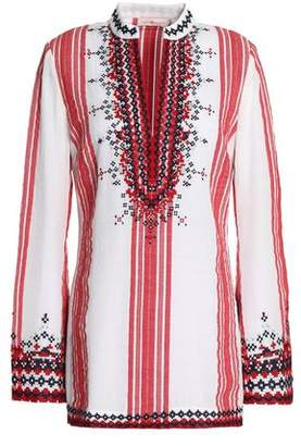Tory Burch Embroidered Striped Cotton-Gauze Tunic