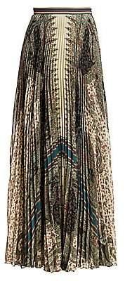 Etro Women's Pleated Paisley-Print Maxi Skirt