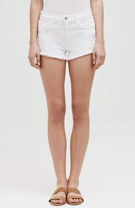 L'Agence Zoe Distressed Perfect Shorts In Blanc