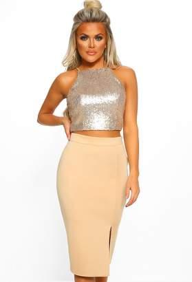 fe6d74381 Pink Boutique Broken Halo Gold Side Split Midi Skirt