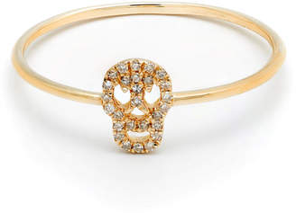 Casa Reale 14k Gold Diamond Skull Ring Size 7