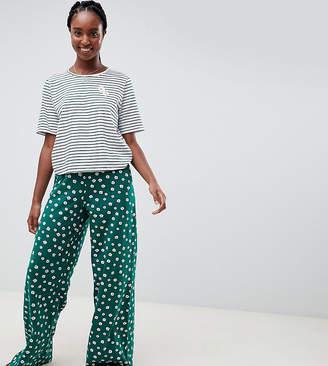 Asos Tall DESIGN Tall stripe tee and floral wide leg pyjama PANTS
