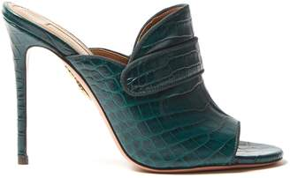 Dylan crocodile-effect leather mules