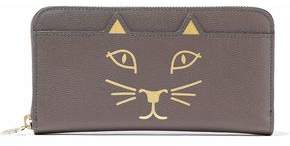Charlotte Olympia Feline Metallic Printed Textured-Leather Wallet