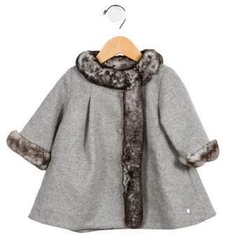 Christian Dior Girls' Fur-Trimmed Virgin Wool Coat w/ Tags