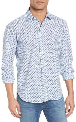 Culturata Slim Fit Print Cotton & Linen Sport Shirt