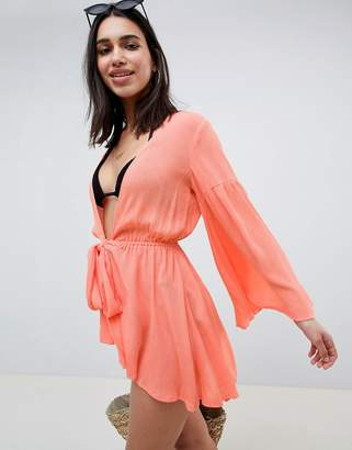 Asos Design DESIGN crinkle tie waist beach kimono cover up