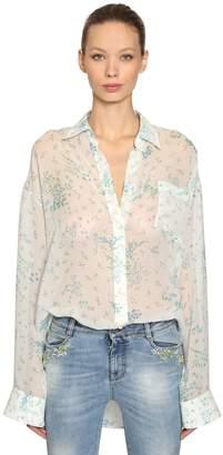 Ermanno Scervino Oversized Floral Silk Georgette Shirt
